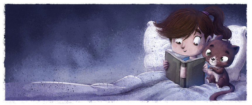 niña con gato leyendo de noche