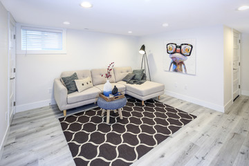 Fototapeta Cozy family room in a basement.