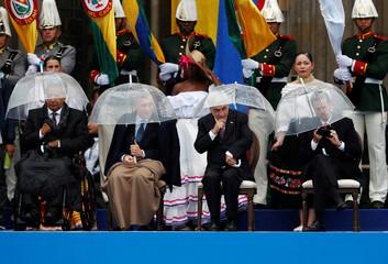 Ecuador's President Moreno, Argentina's President Macri, Chile's President Pinera and Mexico's President Pena Nieto attend the swearing-in ceremony of Colombia's new President Ivan Duque on Bolivar Square, in Bogota