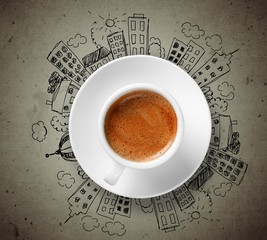 Conceptual image of cup of coffee
