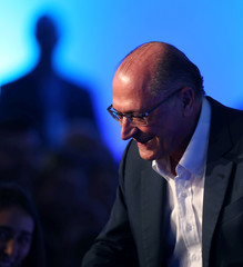 Alckmin of the Brazilian Social Democracy Party (PSDB), candidate for Brazil's presidential election, attends the GovTech seminar in Sao Paulo
