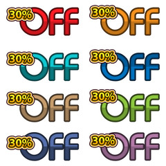 Illustration Vector of 30% off. discount banners design template, app icons, vector illustration
