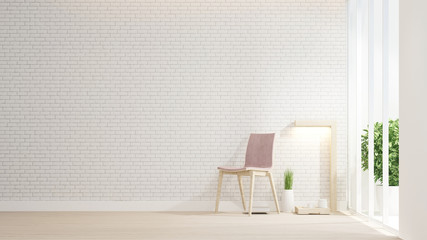 Pink chair and space living room on white brick wall decorate. Living area and brick wall space for add message. Interior simple design. Artwork for residence business. 3D Rendering