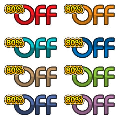 Illustration Vector of 80% off. discount banners design template, app icons, vector illustration