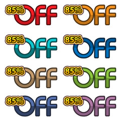 Illustration Vector of 85% off. discount banners design template, app icons, vector illustration