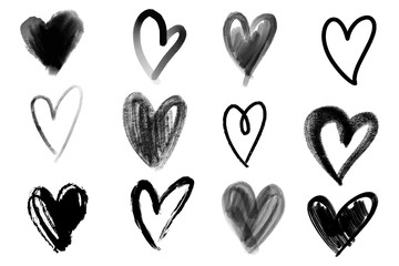 Vector collections of hand drawn grunge Valentine hearts isolated on white background.