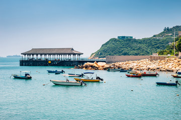 Stanley Bay sea and boat in Hong Kong Fotomurales