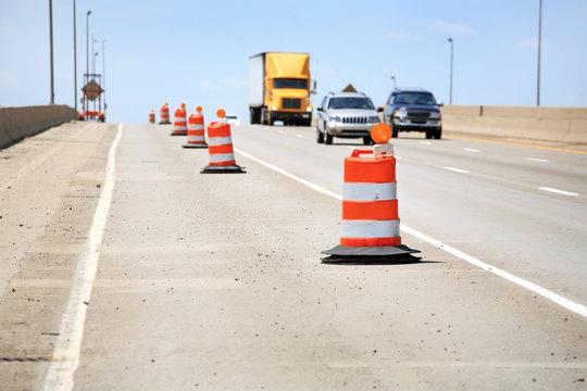 Orange barrels along the highway during construction