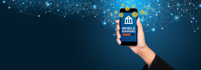 Mobile banking concept. Mobile banking on smartphone screen in businesswoman hand