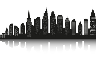 Modern landscape. City skyscrapers building office horizon  on white background. Can be used for green city, recreation zone. Vector Illustration.