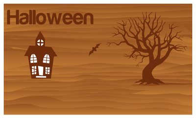 Happy Halloween with haunted house and bat vector. vector illustrator