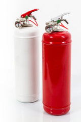 white and red Colored retro fire extinguisher isolated on white background