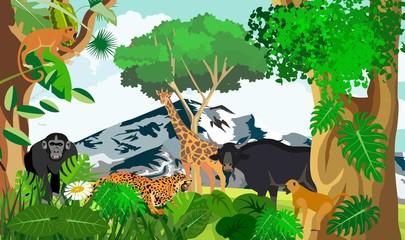 African jungle animals, fauna, giraffe, buffalo, monkey, vector illustration