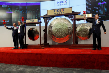 China Tower Corporation Limited Chairman, Executive Director and General Manager Tong Jilu and Beigene Ltd founder and CEO John Oyler attend debut of the companies in Hong Kong