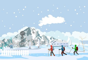 Winter extreme sport, extreme touristen walking in snow mountains, vector illustration