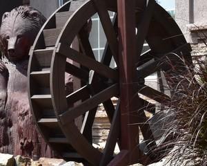 Vintage wooden paddle wheel