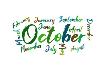 October Colorful Lettering Name of Month Calendae