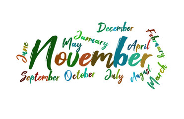 November Colorful Lettering Name of Month Calendae
