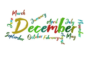 December Colorful Lettering Name of Month Calendae