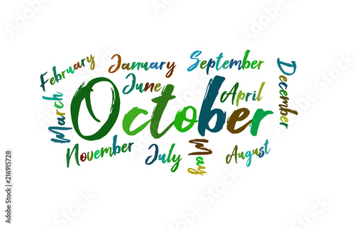 october colorful lettering name of month calendae stock image and