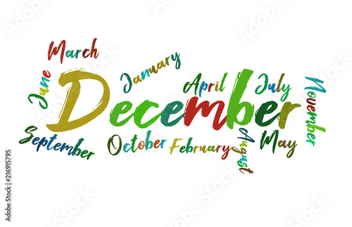 december colorful lettering name of month calendae stock image and