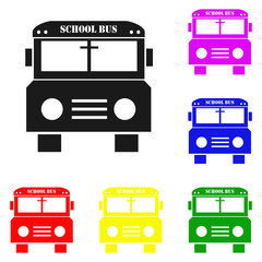 Elements of school bus in multi colored icons. Premium quality graphic design icon. Simple icon for websites, web design, mobile app, info graphics