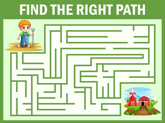 Maze game finds the little farmer way get to the farm