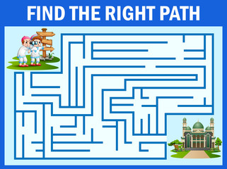 Maze game finds the boy and girl,way to the mosque