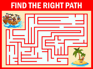 Maze game find a pirates group way to treasure island