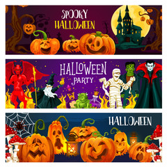 Halloween pumpkin, horror monster greeting banner