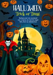 Halloween trick or treat night celebration poster