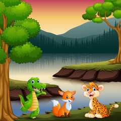 The animals are enjoying nature by the lake