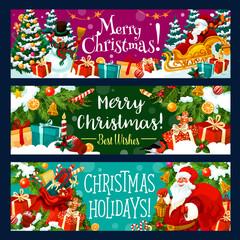 Christmas banner with Xmas holiday gift and Santa