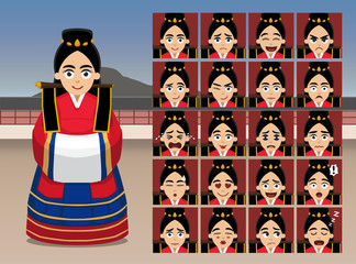 Korean Wedding Bride Cartoon Emotion faces Vector Illustration