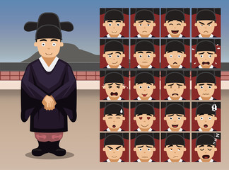 Korean Wedding Groom Cartoon Emotion faces Vector Illustration