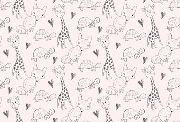 Seamless pattern wth outline hand sketched animals.