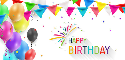 Happy Birthday balloons template. Colorful balloons vector graphic. Vector Illustration of a Happy Birthday Greeting Card Design.