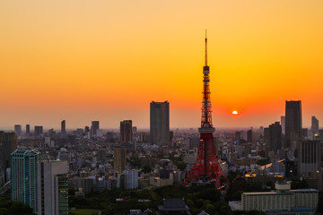 cityscape at sunset in Tokyo, Japan