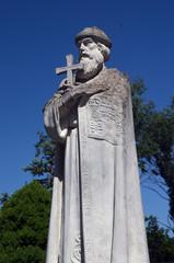 Garden of the Christian male monastery. Garden sculpture. Tomashevka,Kiev region