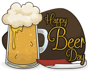 Delicious Frothy Beer with Loose-leaf Calendar for Beer Day, Vector Illustration