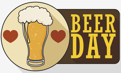 Beer with Coaster Decorated with Hearts for Beer Day, Vector Illustration