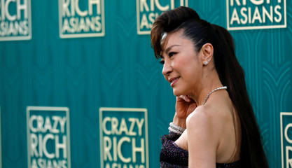 "Cast member Yeoh poses at the premiere for ""Crazy Rich Asians"" in Los Angeles"