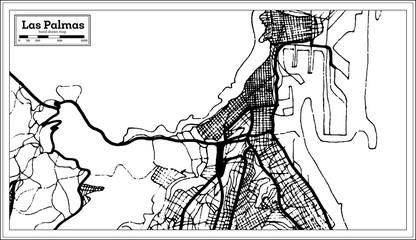 Las Palmas Spain City Map in Retro Style. Outline Map.