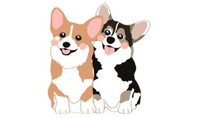 Cute Welsh Corgi Dogs Cartoon Vector