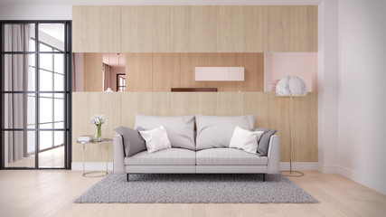 Modern  and minimalist interior of living room, ,Cozy  room and Simple Comforts,gray sofa  on  natural wood wall and floor,3d render