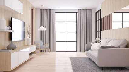 Modern  and minimalist interior of living room, ,Cozy room and Simple Comforts,Modern furniture  on  natural wood wall and floor,3d render
