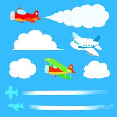 飛行機と雲のイラストセット