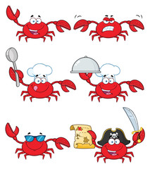 Crab Cartoon Character Set 3. Vector Collection Isolated On White Background