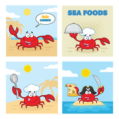 Crab Cartoon Character Set 4. Vector Collection With Background