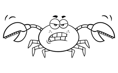 Black And White Angry Crab Cartoon Mascot Character. Illustration Isolated On White Background